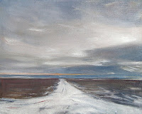 Prudoe Bay Alaska, road with light snow