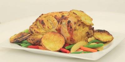 دجاج مشوي بالزبادي والمستردة