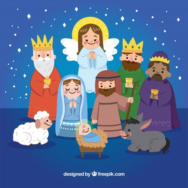 Cute hand drawn nativity scene Christmas Free Vector