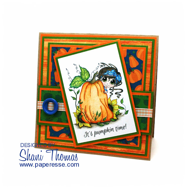 It's pumpkin time! Autumn/Halloween card featuring My Besties Pumpkin Pie Giggle Box digital stamp, by Paperesse.