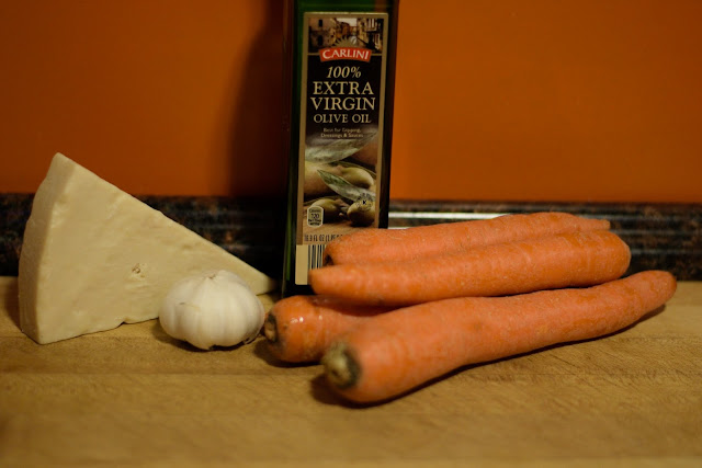 The ingredients needed to make the Roasted Parmesan Carrots.