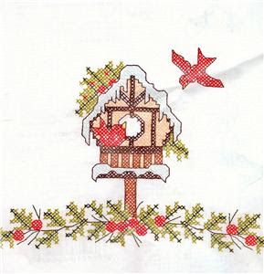 Cardinal Cross Stitch Hand Towels