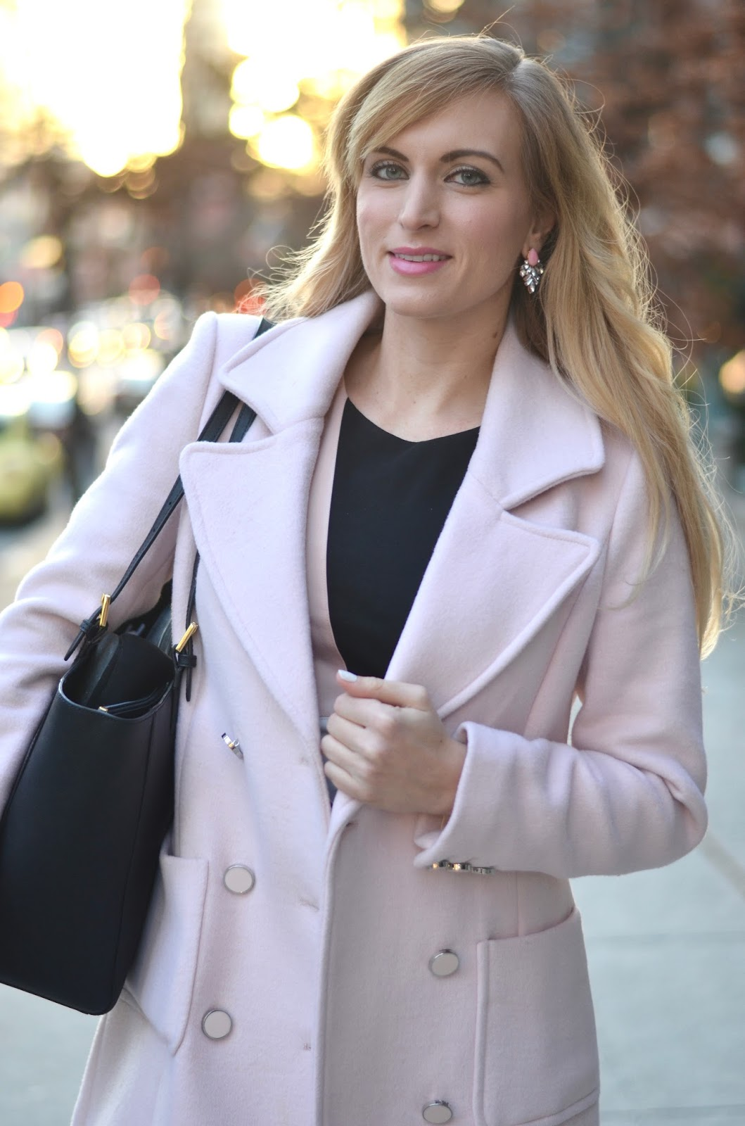 pink winter coat with white house black market dress