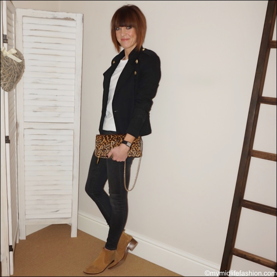my midlife fashion, Isabel Marant Etoile military jacket, app leopard print clutch bag, marks and Spencer pure cotton long sleeve crew neck t shirt, j crew 9 high rise toothpick jeans, Zara western heel ankle boots