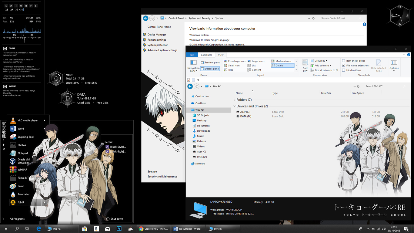 Theme Tokyo Ghoul: Re for Windows 10 Version 1803 - Anime Skin