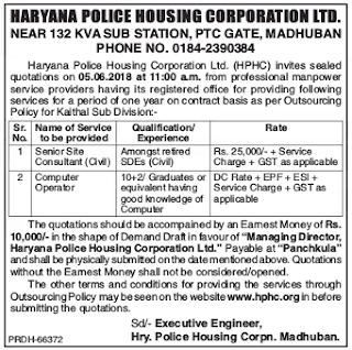 Haryana Police Housing Corporation Recruitment 2018 – Consultant & Computer Operator Posts