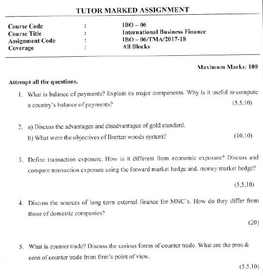 IGNOU MCOM 1st Year Solved Assignment 2018 IBO-06