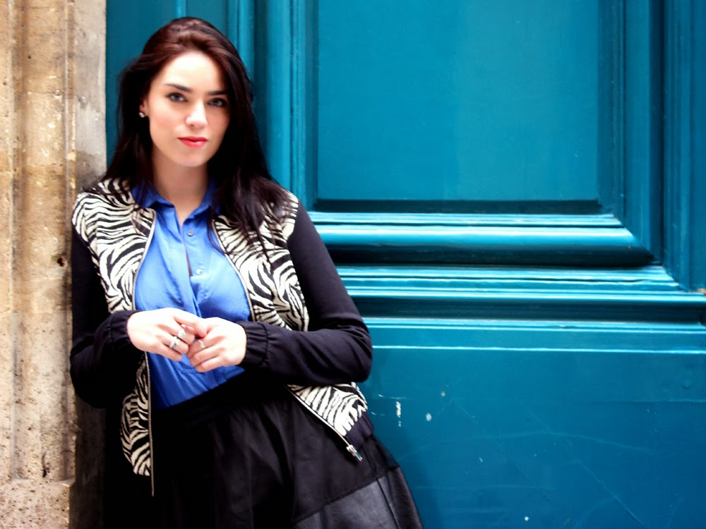 Blue silk Sandro shirt and black and white zebra print Pull and Bear coat on Emma Louise Layla