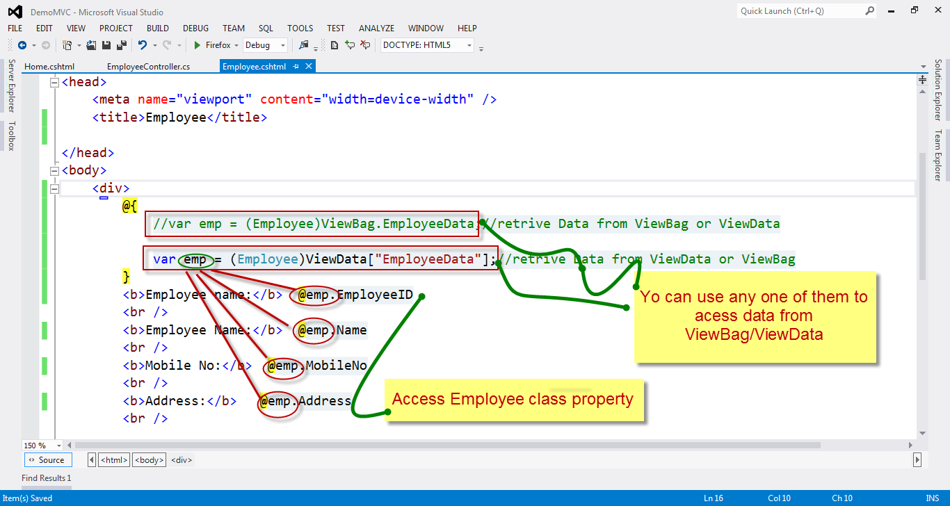 How to pass Data from Controller to View in ASP NET MVC    Net C#
