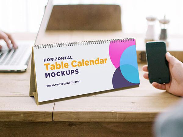 Mockup PSD Kalender 2019 Terbaru - Horizontal Table Calendar Mockups