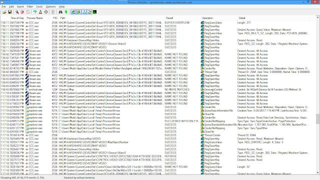 Tampilan aplikasi process monitor