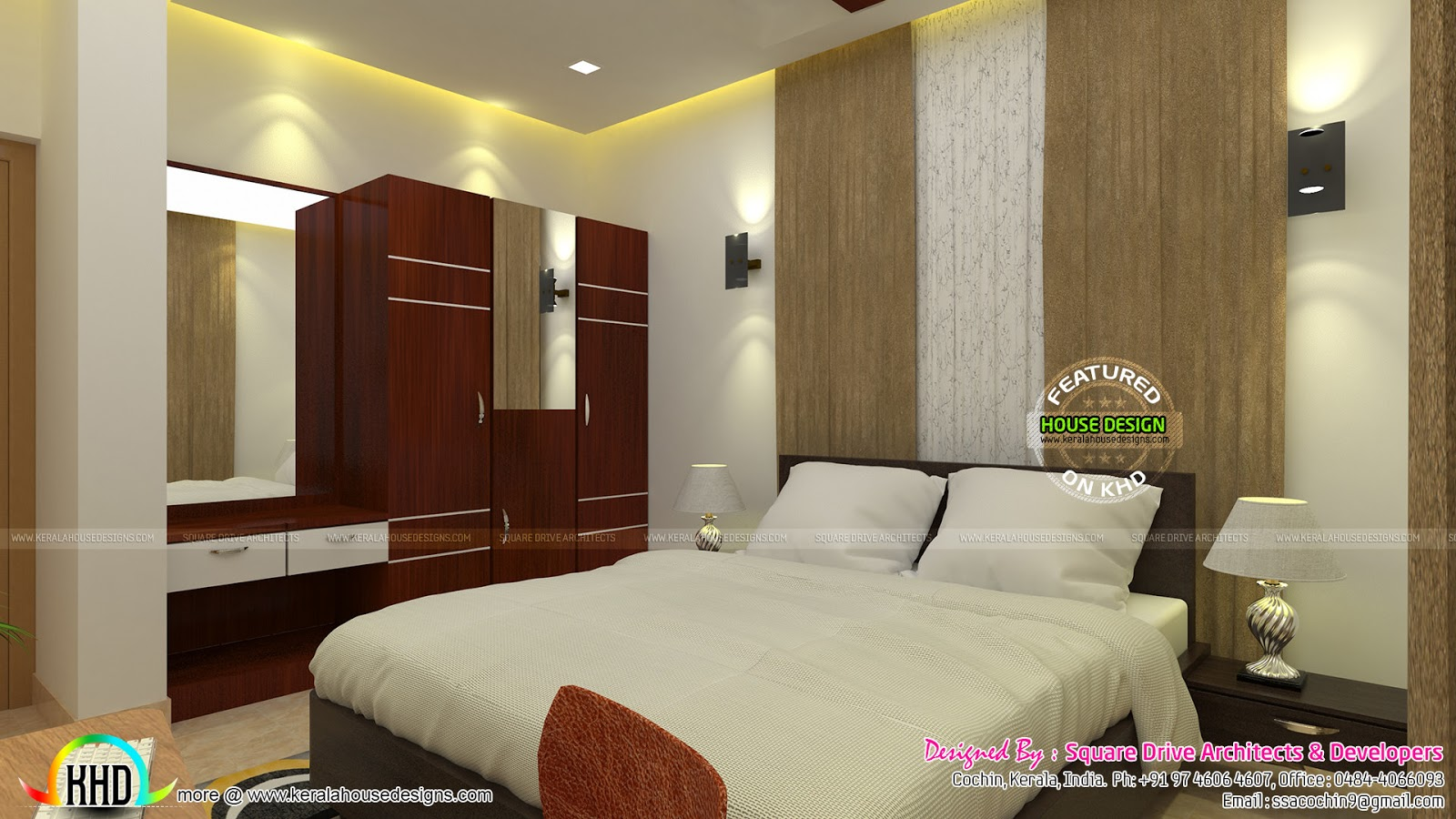 bedroom and living room interior kerala home design and