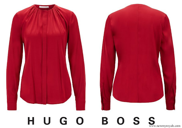 Crown Princess Mary wore Hugo Boss Banora Blouse