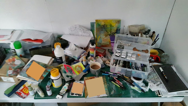 Carmen Wing: Messy What's On My Work Desk Wednesday - Messy Work Space Artists Studio