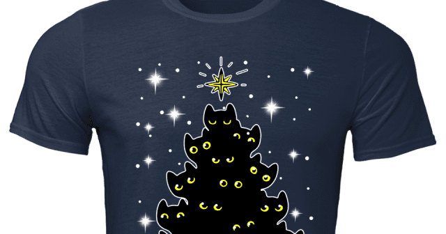 Meowy Black Tree Cat Christmas Sweater Qapfe8xw