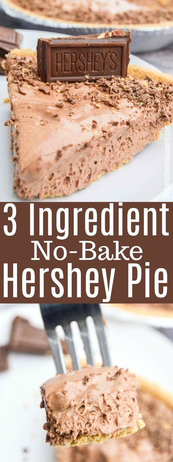 3 Ingredient No-Bake,Keto Hershey Pie
