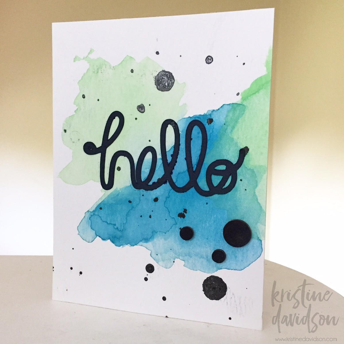 ... And Created This Simple Card Using Paint, A Cut Out Hello Using My  Silhouette And A Few Wood Dots Painted In Black To Add Some Details To My  Card.