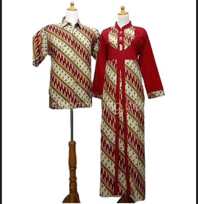 gamis batik kombinasi katun polos