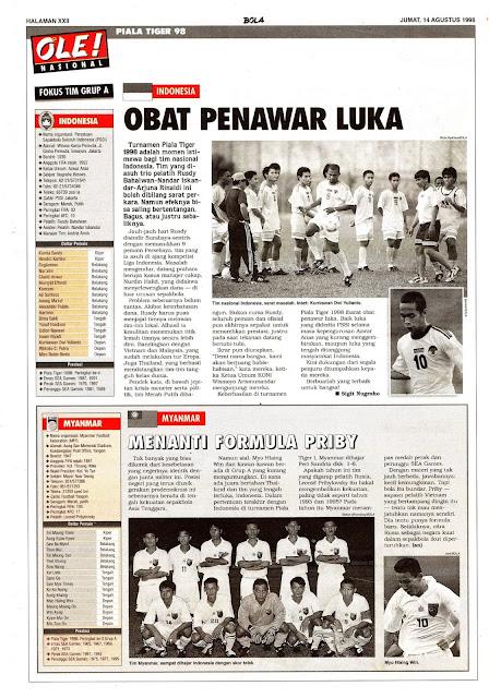 PIALA TIGER 98 FOKUS TIM GRUP A INDONESIA
