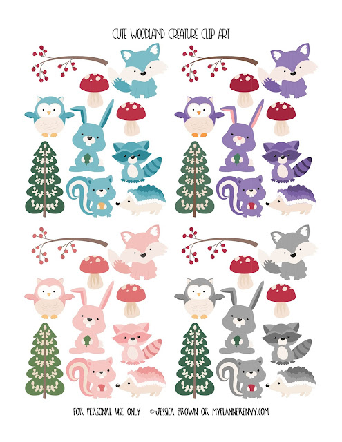 Cute Woodland Creature Clip Art from myplannerenvy.com