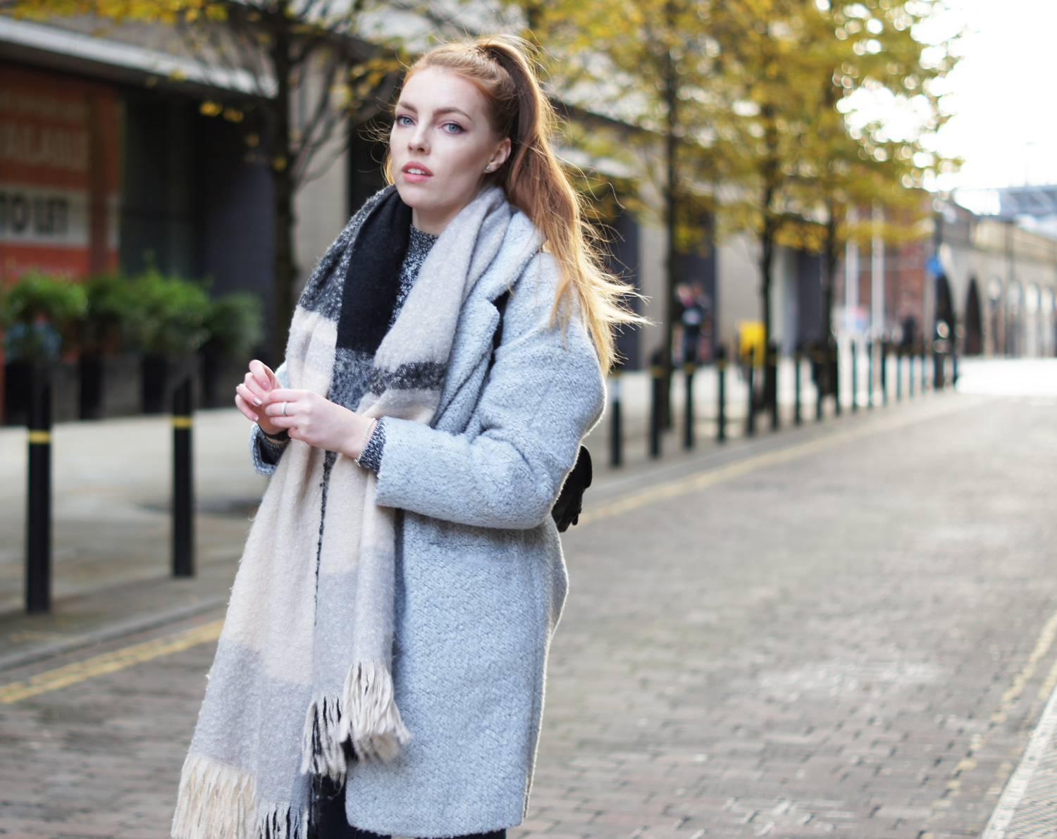 oversized fluffy grey coat