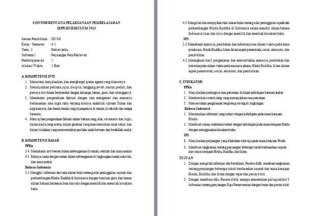 RPP, SILABUS, PROMES, dan PROTA Kurikulum 2013 SD Kelas 4