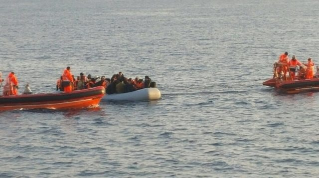 Albanian ship Oriku stops a boat with 60 Syrians on board in the Aegean Sea