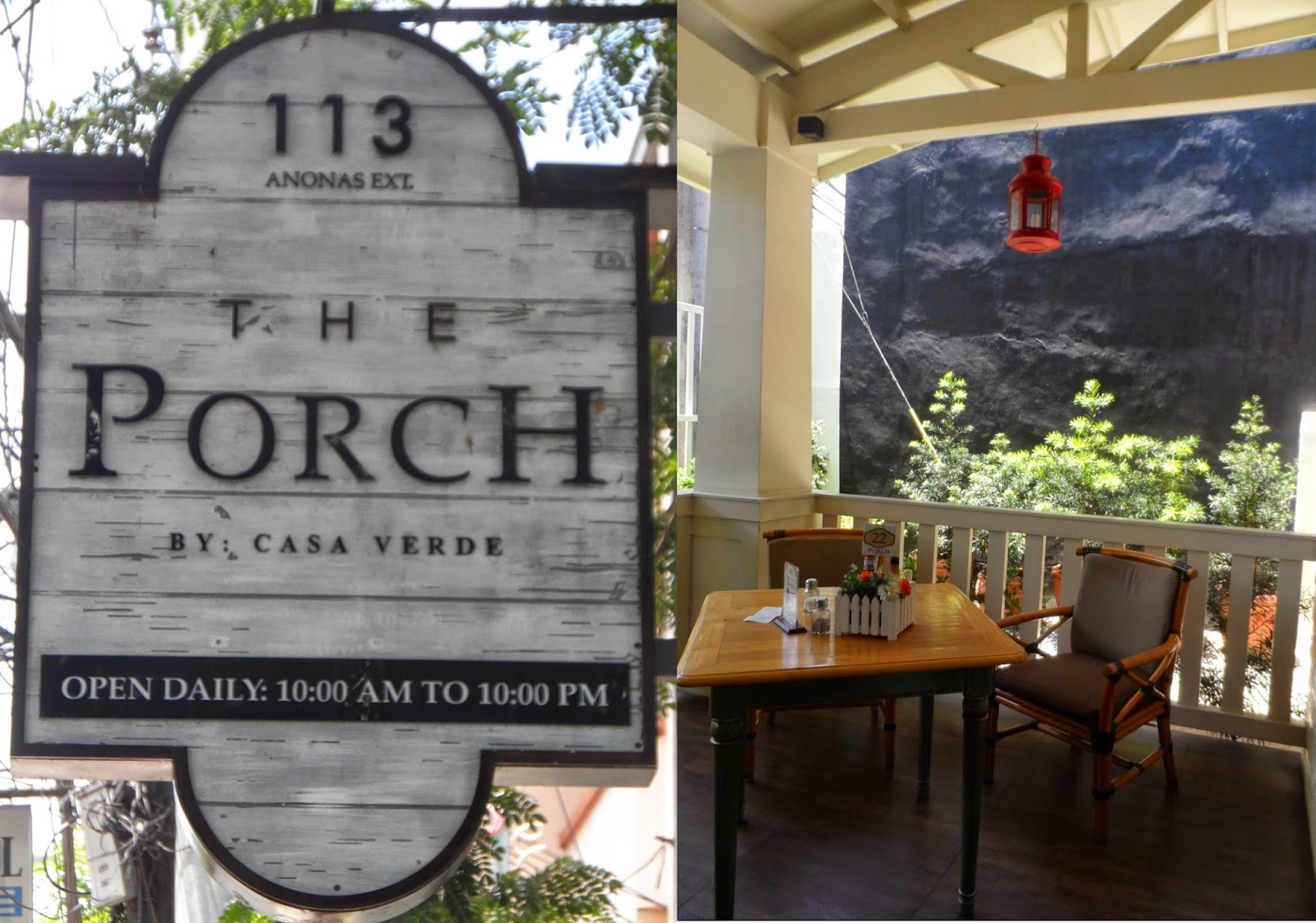 The porch restaurant by casa verde