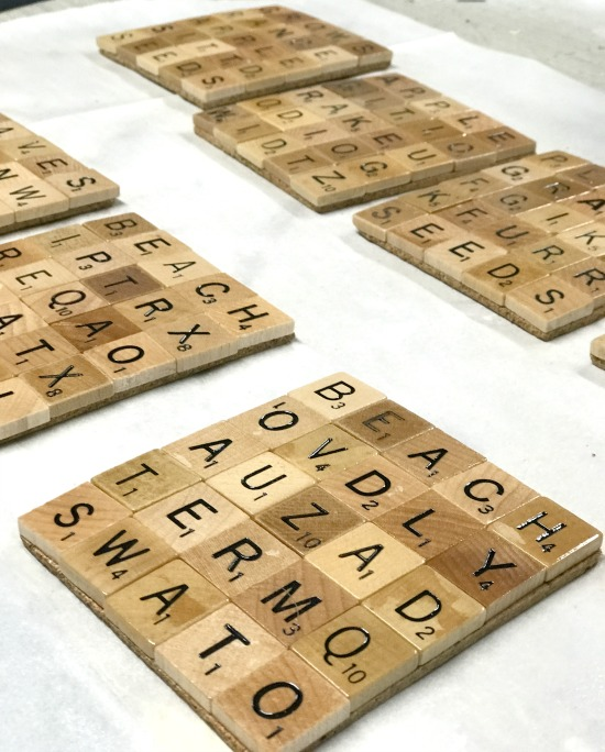 Scrabble tile Coasters with a sealer