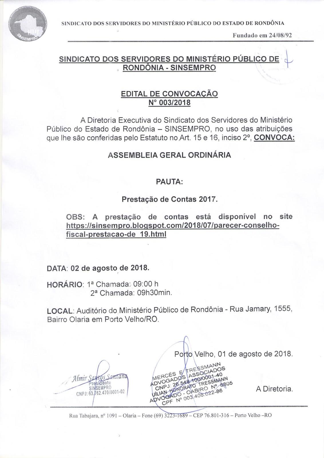 5129d93bba SINDICATO DOS SERVIDORES DO MINISTÉRIO PÚBLICO DO ESTADO DE RONDÔNIA ...