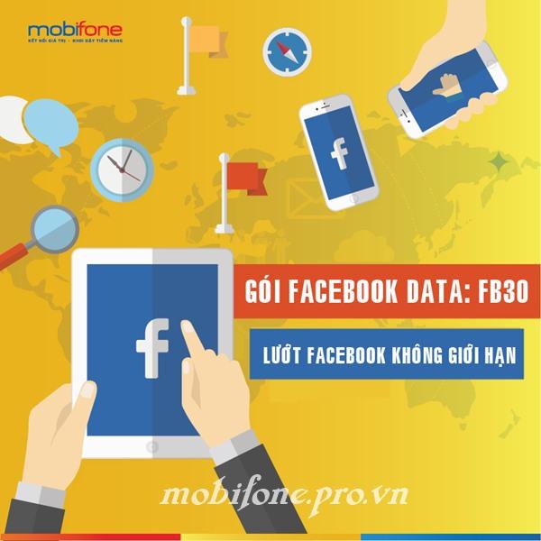 Lướt Facebook không giới hạn suốt 30 ngày với gói FB30 Mobifone
