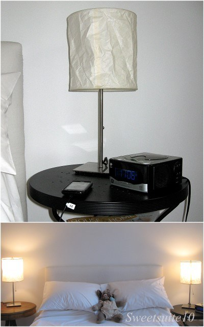 Old paper shade bedside lamps