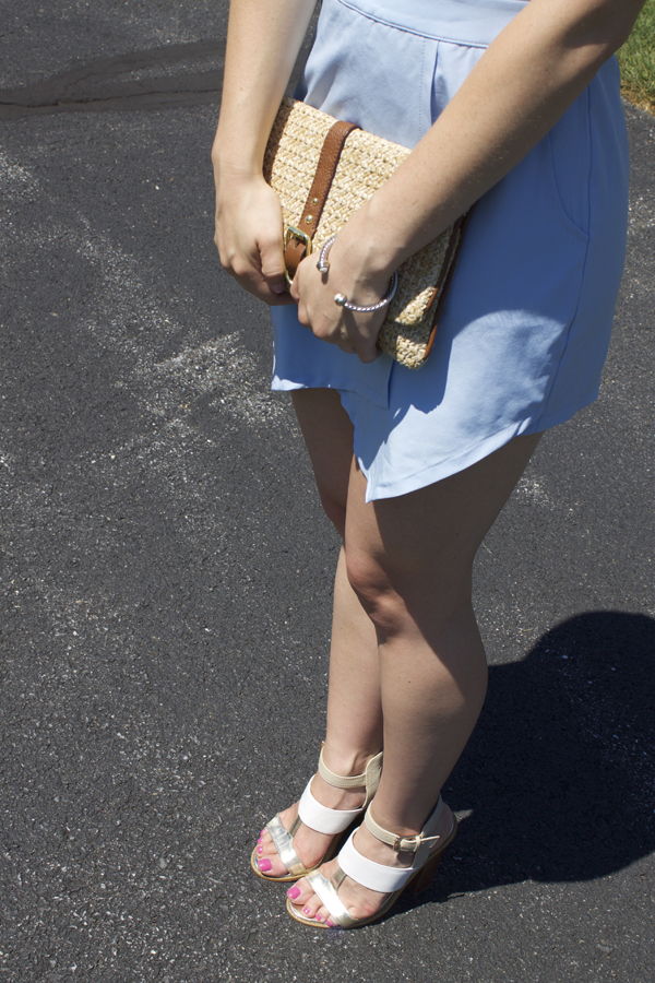 Tobi, Shop Tobi, Romper, Summer Romper, Blue Romper, Shorts, Powder Blue Romper, Shorts Romper, Backless Romper, Naturally Me, Michael Kors sunglasses, Summer outfit, What to wear to a summer wedding, summertime, ear jackets, Gap clutch