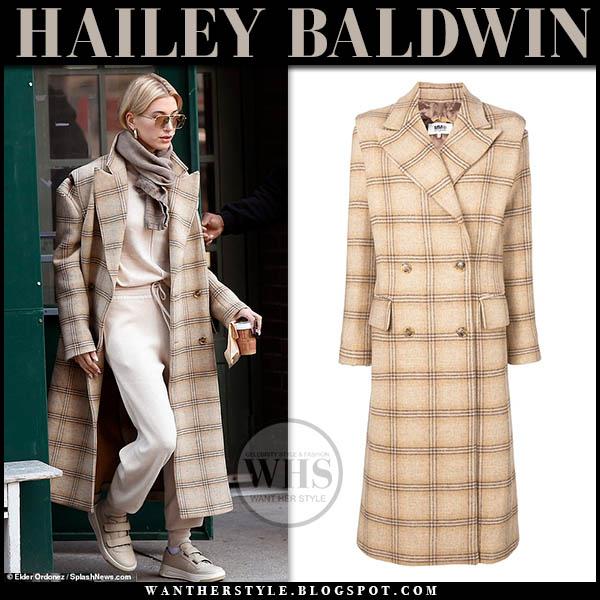 Hailey Baldwin in beige check maison margiela coat and beige sweatpants celebrity off duty style january 30