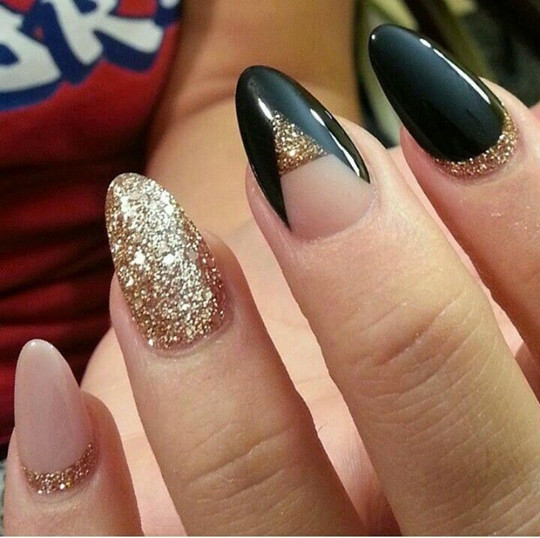 wedding 2016 Half Moon Glitter Nails ideas