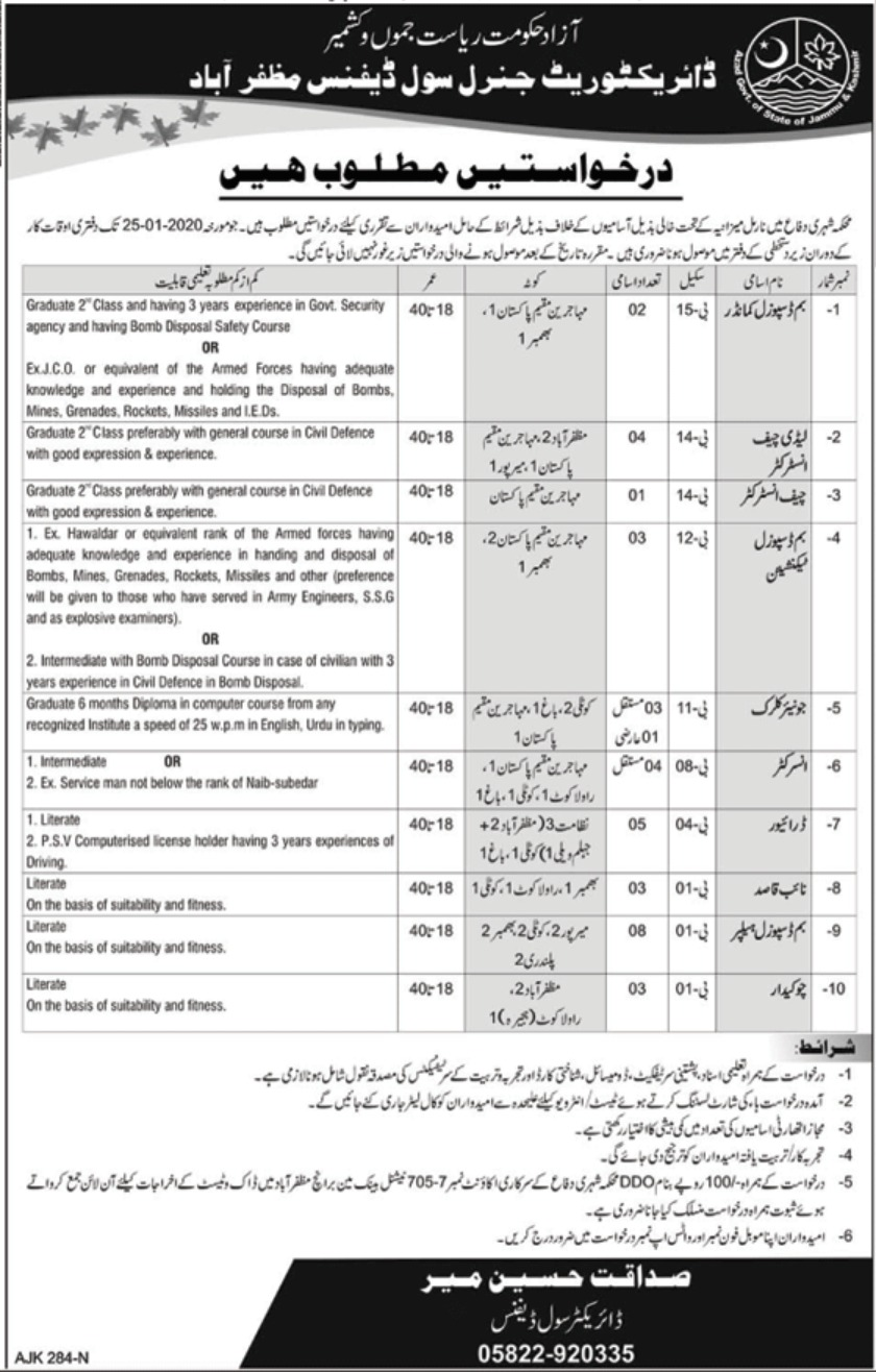 Directorate General Civil Defence Jobs 2020
