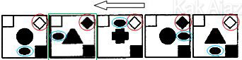 Penyelesaian Soal Figural No. 39 TKPA SBMPTN 2016 Kode Naskah 321, pola gambar: inversi warna, tranlasi atau perpindahan objek