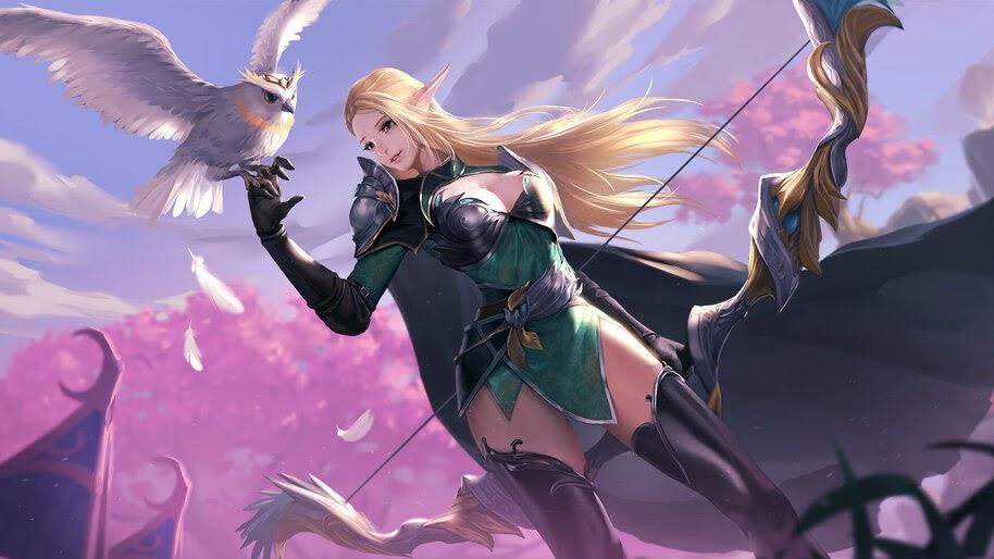 Anime, Girl, Fantasy, Elf, Archer, 4K, #283