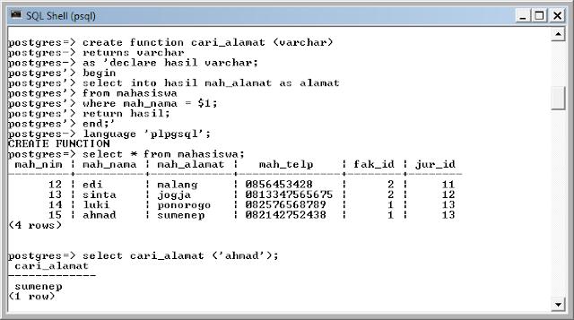 Kelas Informatika - Fungsi Mencari Alamat PostgreSQL