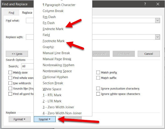 Click on the Special and then select endnote or foodnote mark