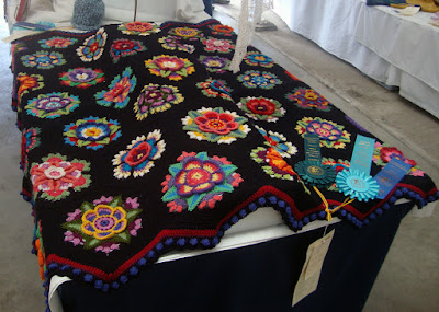 Robin Atkins, crocheted afghan, Frida's Flowers, wins top awards at Fair