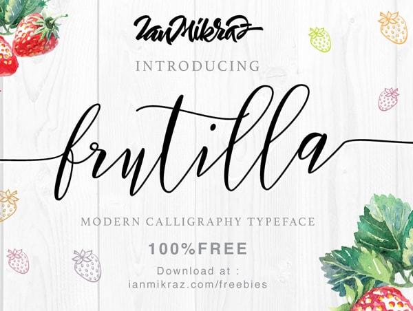 Brush font terbaik 2017 - Frutilla – Free Brush Font