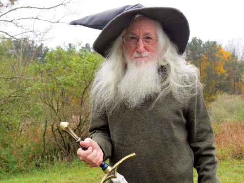 man dressed as Gandalf