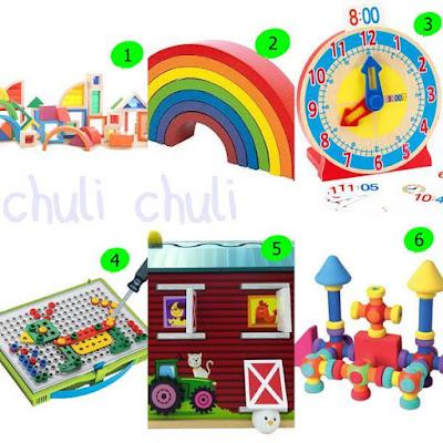 algunos de los regalos que me gustan para el cumple de mi pequeño. Juegos de construcciones, arcoiris de madera, destornilladores.