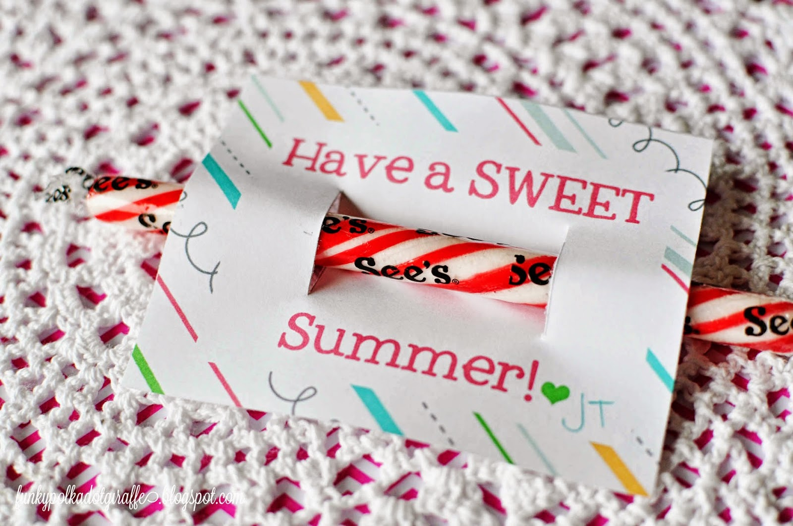 graphic regarding Have a Sweet Summer Printable referred to as Funky Polkadot Giraffe: Lovable Summer season Address Printable