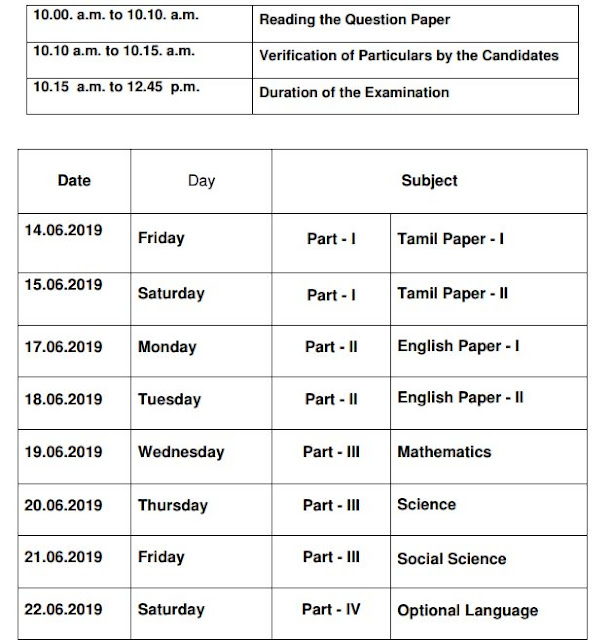 TN SSLC Special Supplementary Examination Time Table 2019