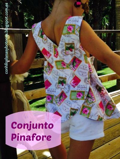 conhiloslanasybotones - conjunto Pinafore (blusa cruzada en la espalda + shorts)