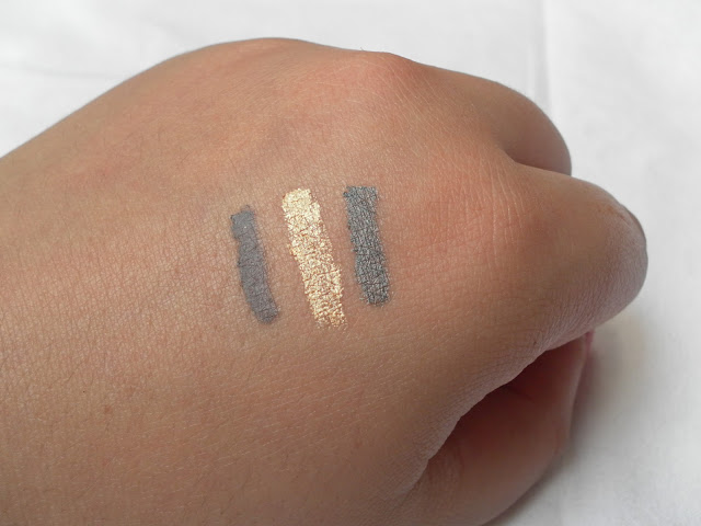 A picture of Maybelline 24HR Color Tattoo in Permanent Taupe, Eternal Gold and Immortal Charcoal