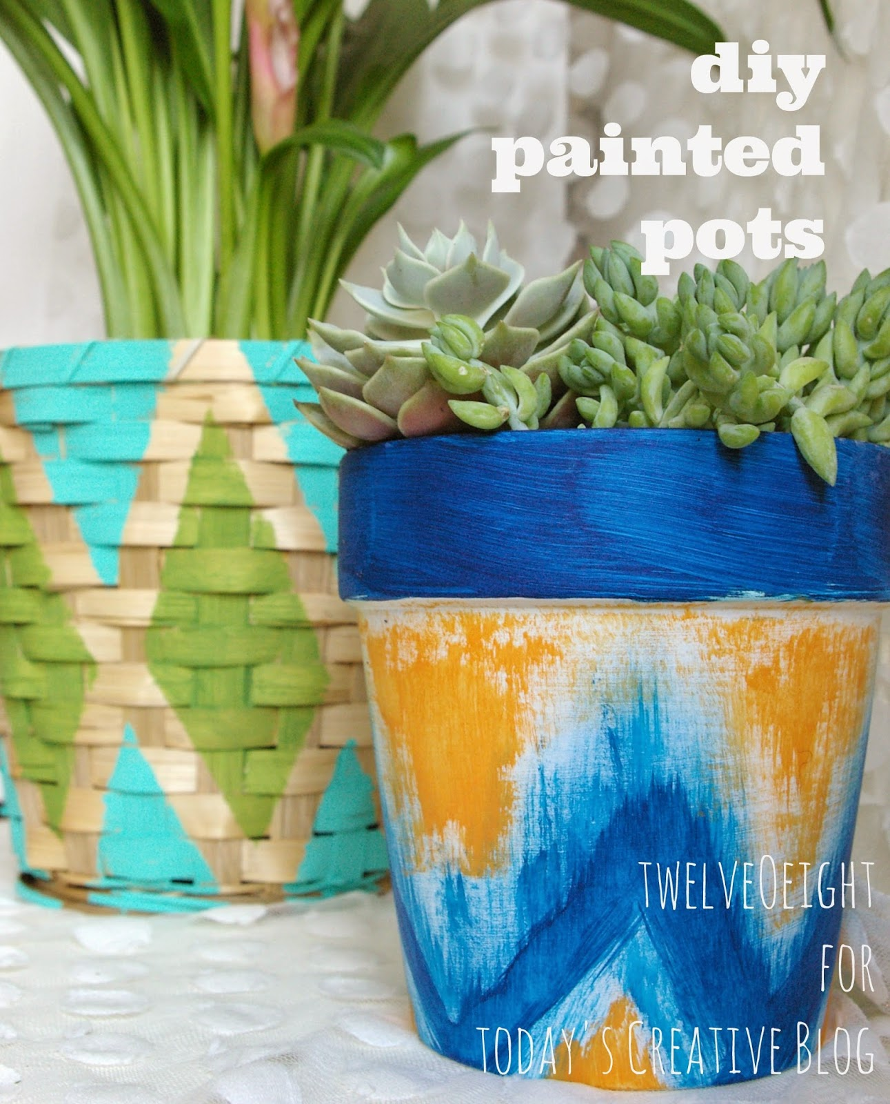 Painted Pots and Baskets by TwelveOeight for TodaysCreativeBlog.net