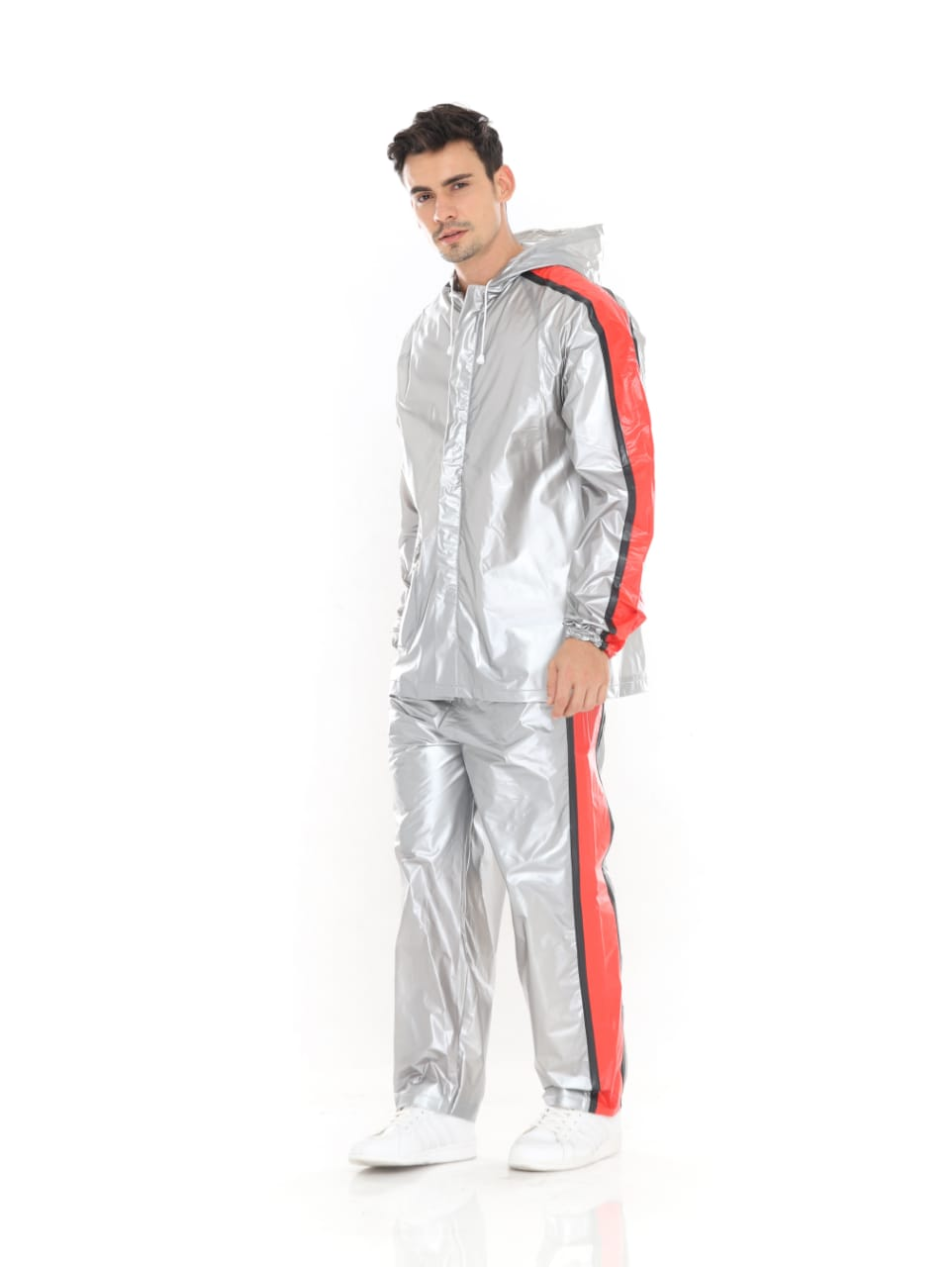 Jas Hujan Mantel Raincoat Setelan Trendy - Silver Strip Merah